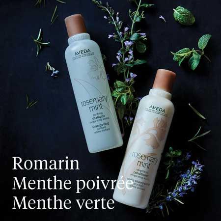 Aveda, produits pour cheveux au romarin