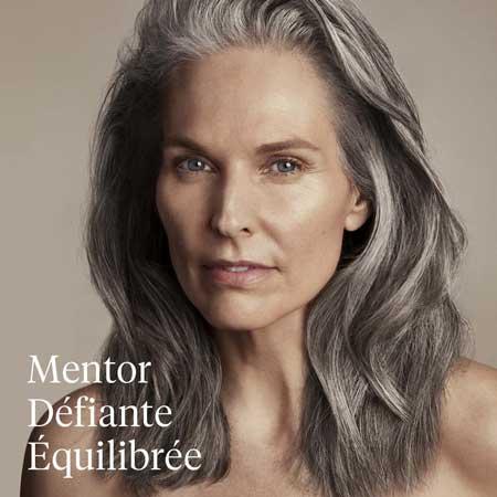 Aveda, salon de coiffure, femme au cheveux gris