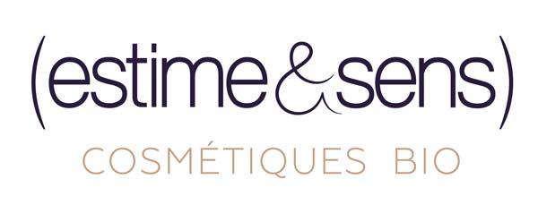 Logo estime&sens, cosmétique bio, écriture bleue et marron