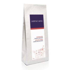 Cure minceur pour femme et homme, sachet gris avec étiquette violette blanche et rouge.
