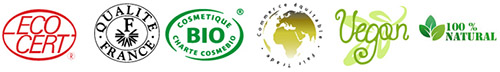 Logo bios, ecocert en rouge, qualité france en noir, cosmetique .Bio en vert, vegan en vert, 100% natural en vert, commerce equitable en vert.