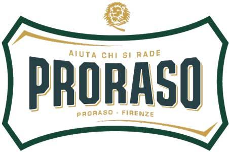 Barbier de vendée, logo du partenaire Proraso avec écritures vertes et marrons