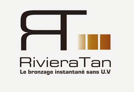 Parteanire bronzage riviere tan, logo avec ecriture noir et rectangles marrons