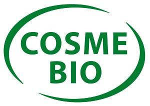 Logo cosme bio, écriture verte dans un cercle vert